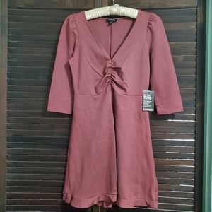 NWT Express 3/4 Sleeve V Neck Ruched Dress Small